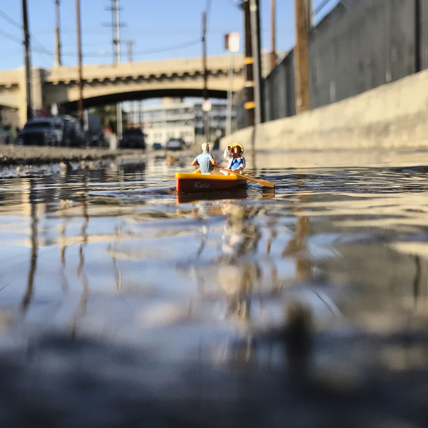 Boating Under 6th Street Bridge Downtown Los Angeles