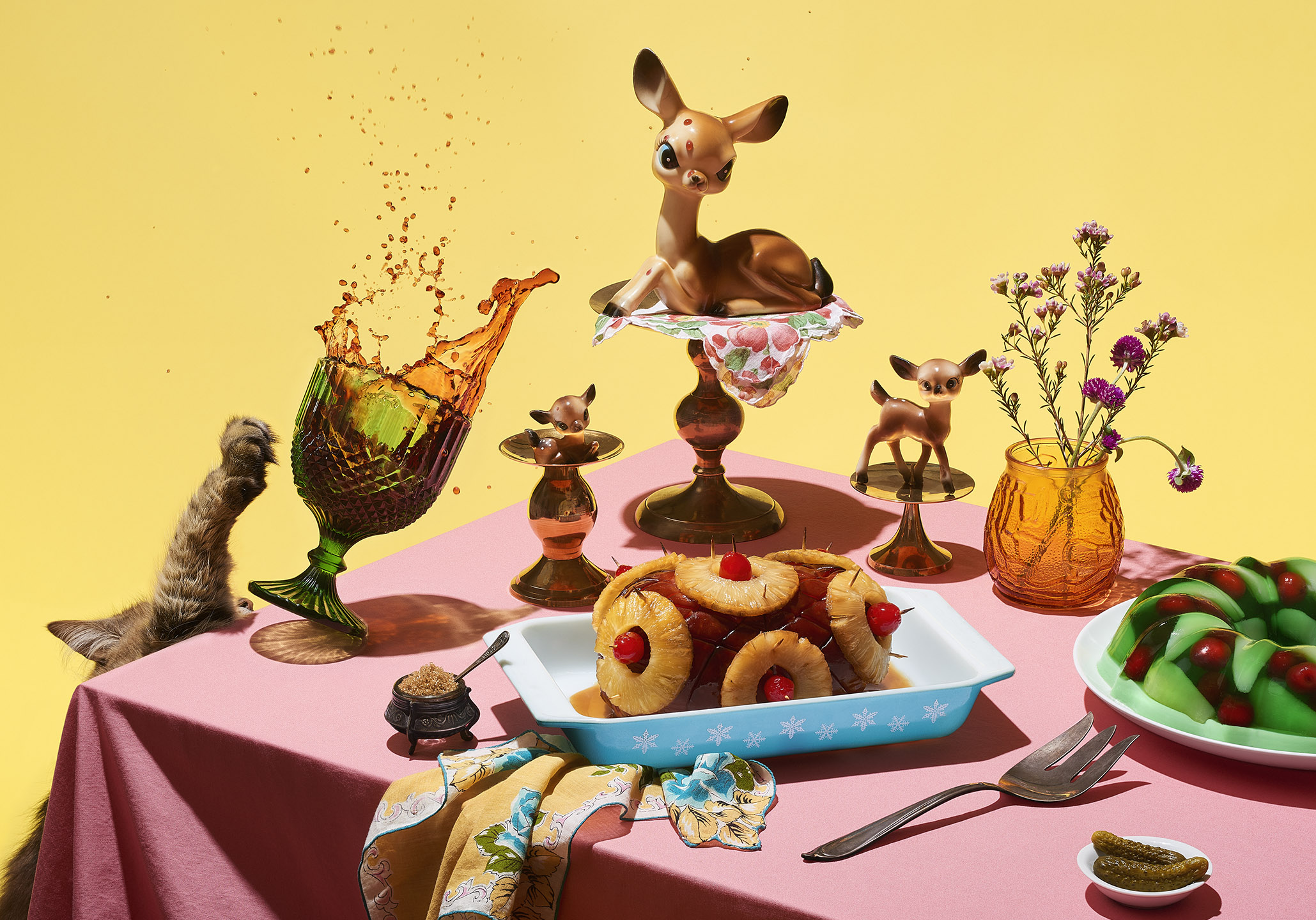 Deer Grandmas Dinner Party Still Life By Matthew Roharik and Stylist Jessica Stewart